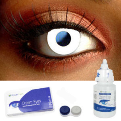 Glossy White Contact Lens Complete Set