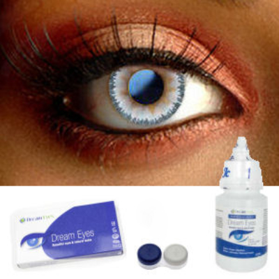 Natural Aqua Blue Floral Contact Lenses Complete Set