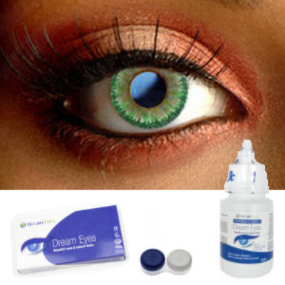 Natural Green Floral Contact Lenses Complete Set